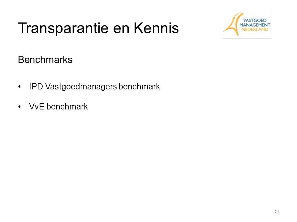 Transparantie en Kennis Benchmarks IPD Vastgoedmanagers benchmark VvE benchmark 21