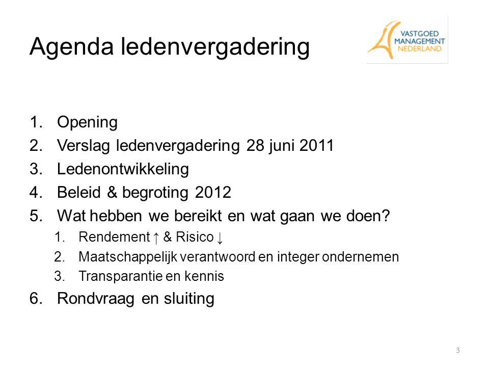 Agenda ledenvergadering 1.Opening 2.Verslag ledenvergadering 28 juni 2011 3.Ledenontwikkeling 4.Beleid & begroting 2012 5.Wat hebben we bereikt en wat