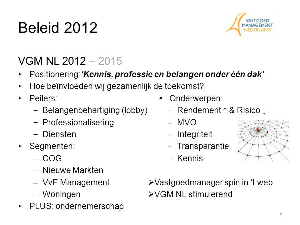 Beleid 2012 VGM NL 2012 – 2015 Positionering:'Kennis, professie en belangen onder één dak' Hoe beïnvloeden wij gezamenlijk de toekomst? Peilers:  Ond
