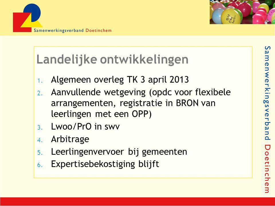 1. Algemeen overleg TK 3 april 2013 2. Aanvullende wetgeving (opdc voor flexibele arrangementen, registratie in BRON van leerlingen met een OPP) 3. Lw