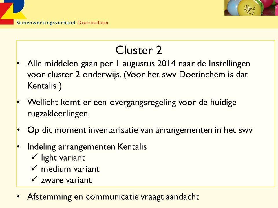 Cluster 2 Alle middelen gaan per 1 augustus 2014 naar de Instellingen voor cluster 2 onderwijs.