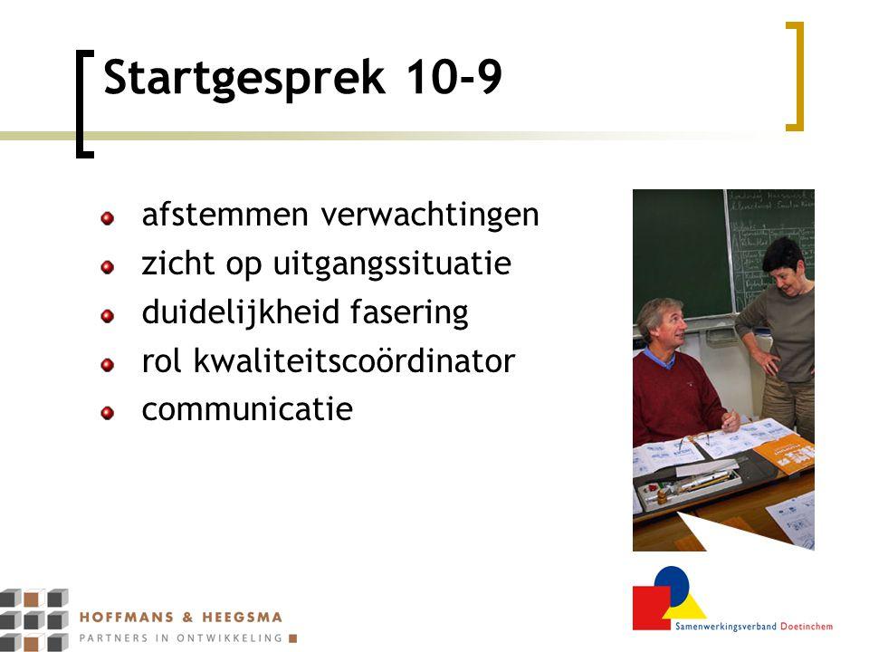 Startgesprek 10-9 afstemmen verwachtingen zicht op uitgangssituatie duidelijkheid fasering rol kwaliteitscoördinator communicatie