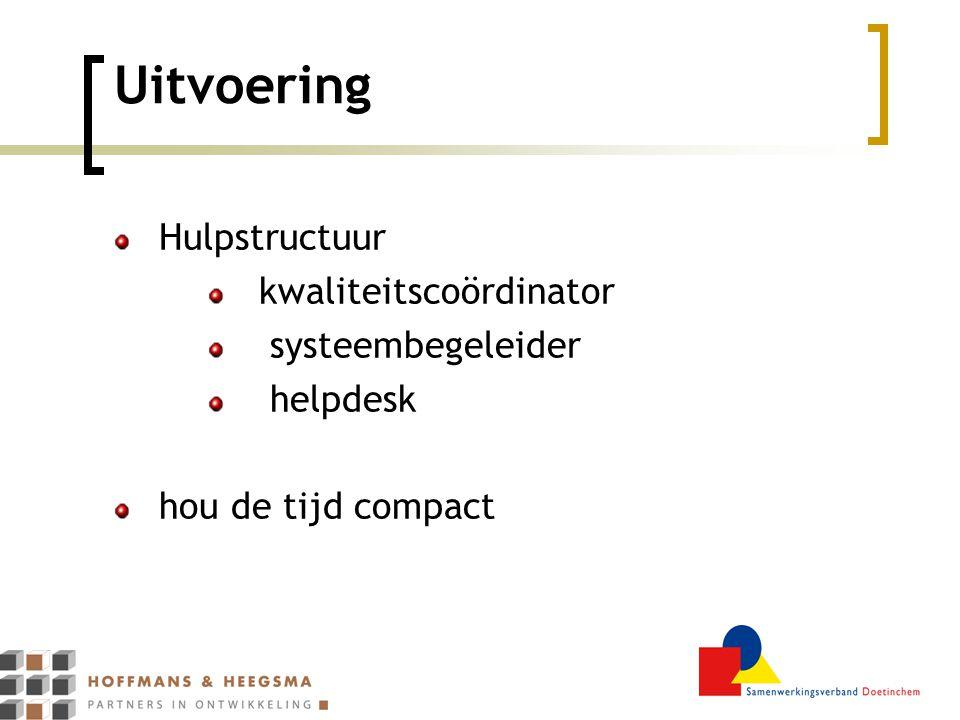 Uitvoering Hulpstructuur kwaliteitscoördinator systeembegeleider helpdesk hou de tijd compact