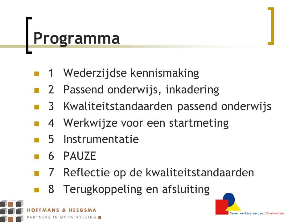 Programma 1Wederzijdse kennismaking 2Passend onderwijs, inkadering 3Kwaliteitstandaarden passend onderwijs 4Werkwijze voor een startmeting 5Instrumentatie 6PAUZE 7Reflectie op de kwaliteitstandaarden 8Terugkoppeling en afsluiting