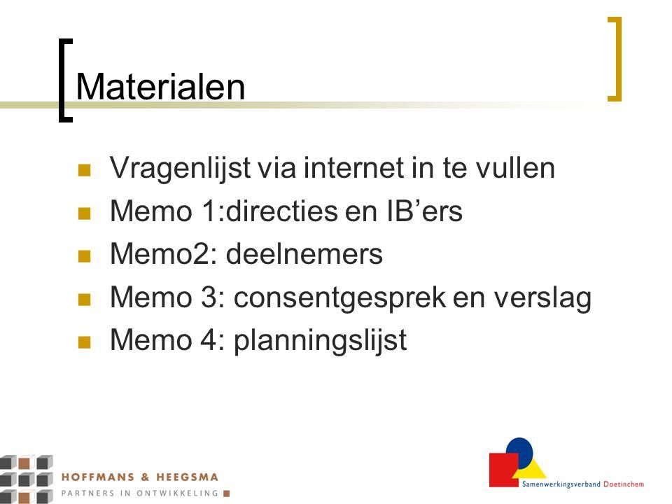 Materialen Vragenlijst via internet in te vullen Memo 1:directies en IB'ers Memo2: deelnemers Memo 3: consentgesprek en verslag Memo 4: planningslijst