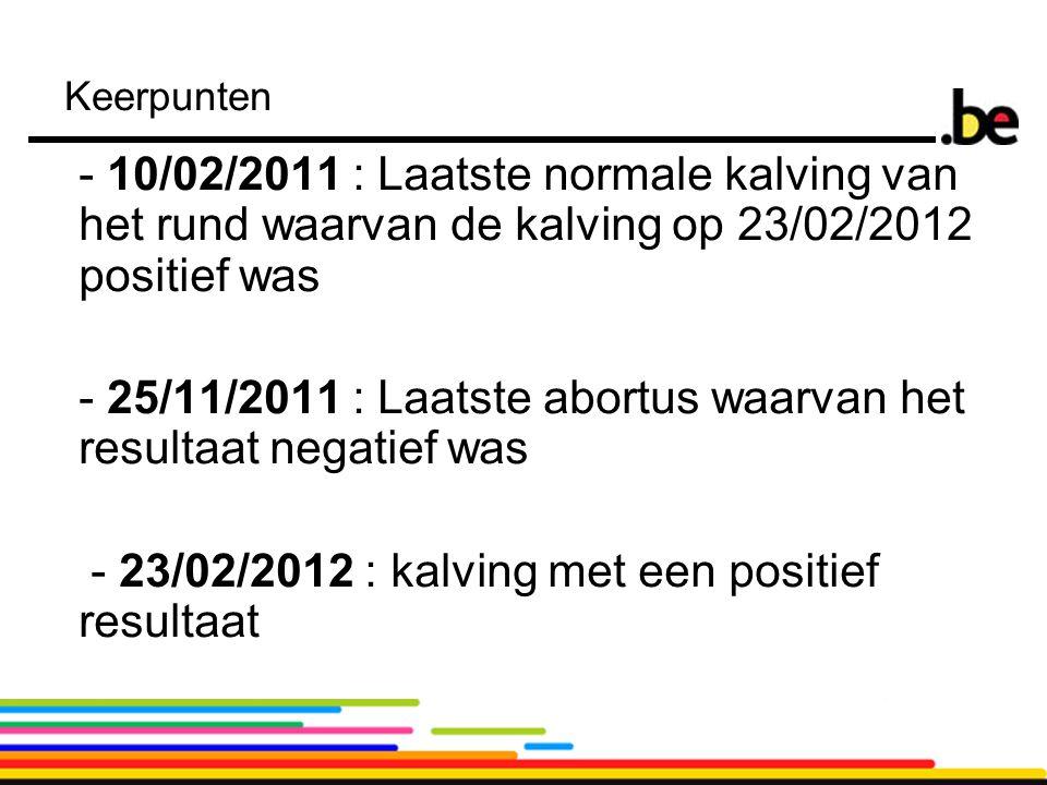 11 Keerpunten - 10/02/2011 : Laatste normale kalving van het rund waarvan de kalving op 23/02/2012 positief was - 25/11/2011 : Laatste abortus waarvan het resultaat negatief was - 23/02/2012 : kalving met een positief resultaat
