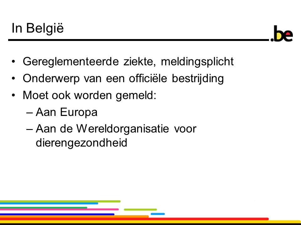 5 In België Gereglementeerde ziekte, meldingsplicht Onderwerp van een officiële bestrijding Moet ook worden gemeld: –Aan Europa –Aan de Wereldorganisatie voor dierengezondheid