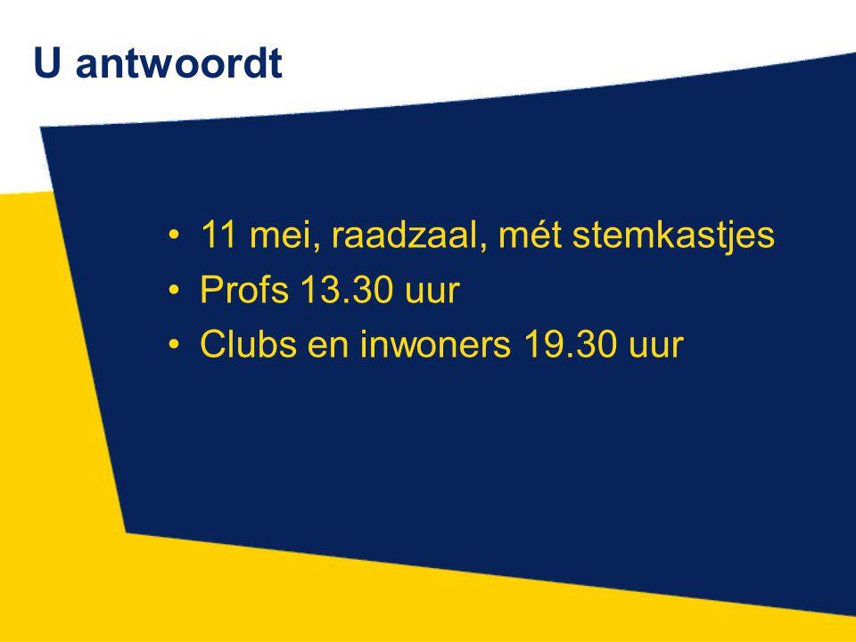 U antwoordt 11 mei, raadzaal, mét stemkastjes Profs 13.30 uur Clubs en inwoners 19.30 uur
