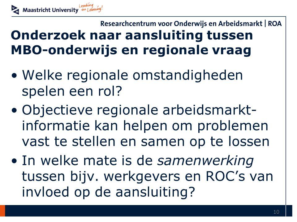 Onderzoek naar aansluiting tussen MBO-onderwijs en regionale vraag Welke regionale omstandigheden spelen een rol.