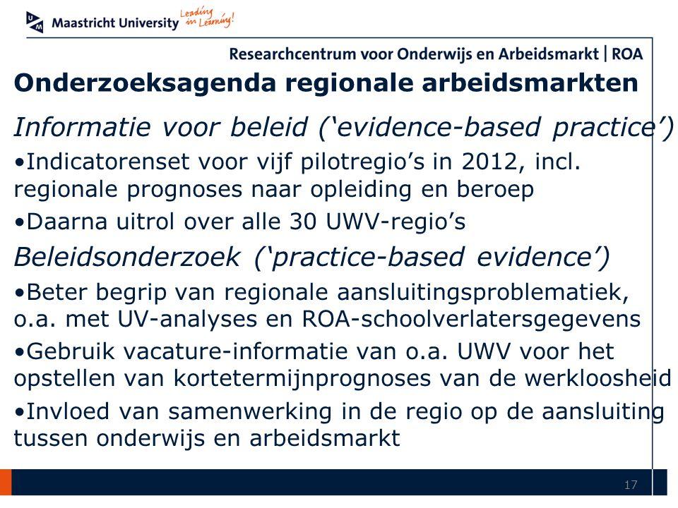 Onderzoeksagenda regionale arbeidsmarkten Informatie voor beleid ('evidence-based practice') Indicatorenset voor vijf pilotregio's in 2012, incl.