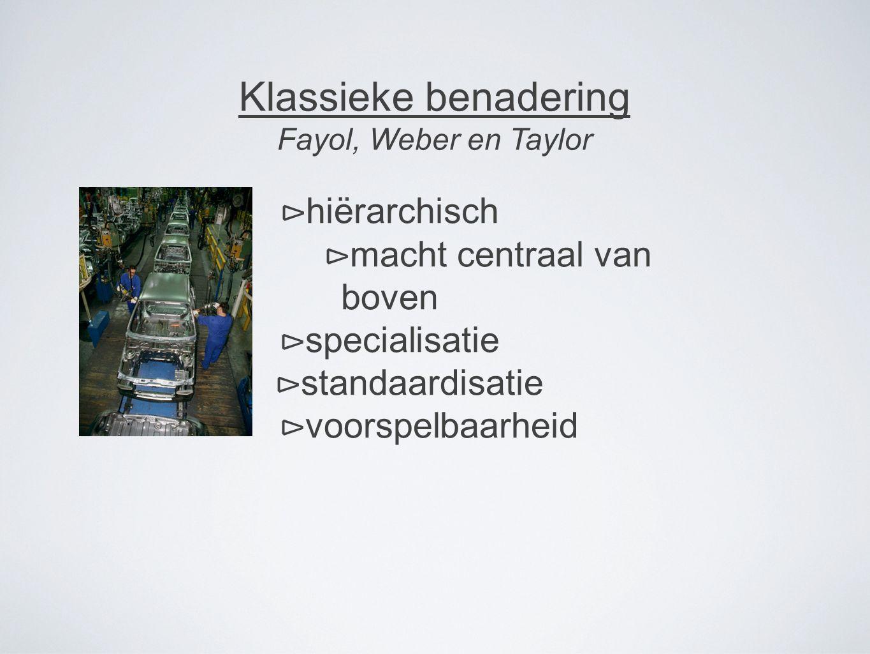 Klassieke benadering Fayol, Weber en Taylor ⊳ hiërarchisch ⊳ macht centraal van boven ⊳ specialisatie ⊳ standaardisatie ⊳ voorspelbaarheid