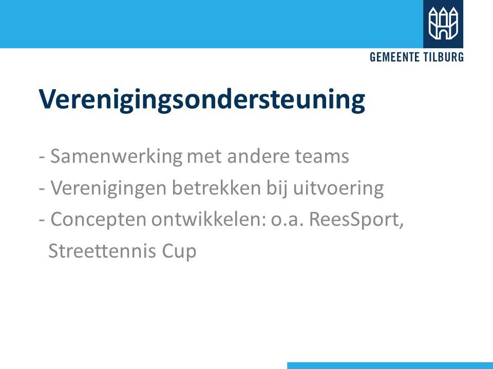 Verenigingsondersteuning - Samenwerking met andere teams - Verenigingen betrekken bij uitvoering - Concepten ontwikkelen: o.a. ReesSport, Streettennis