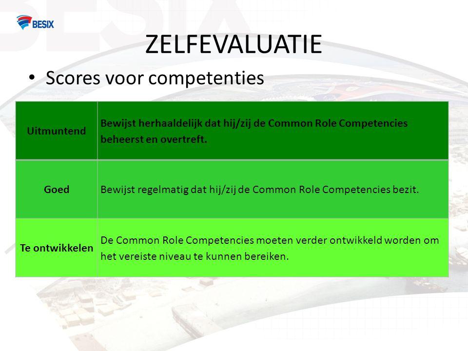 ZELFEVALUATIE Scores voor competenties Uitmuntend Bewijst herhaaldelijk dat hij/zij de Common Role Competencies beheerst en overtreft.
