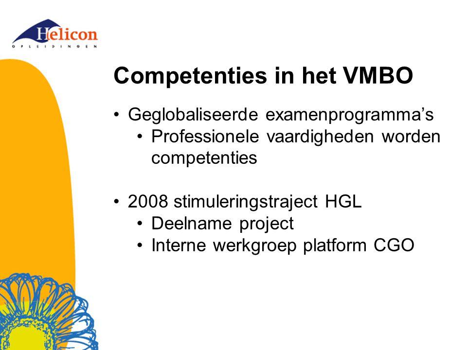Competenties in het VMBO Geglobaliseerde examenprogramma's Professionele vaardigheden worden competenties 2008 stimuleringstraject HGL Deelname projec