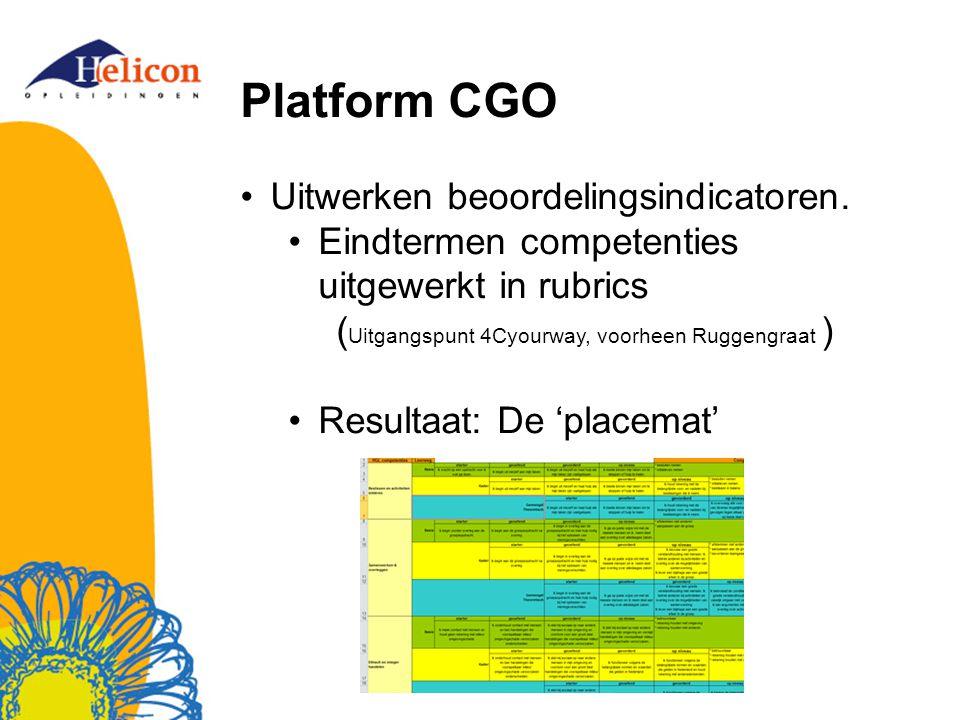 Platform CGO Uitwerken beoordelingsindicatoren. Eindtermen competenties uitgewerkt in rubrics ( Uitgangspunt 4Cyourway, voorheen Ruggengraat ) Resulta