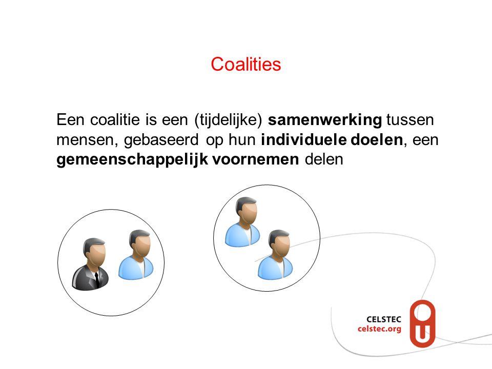 Coalities Een coalitie is een (tijdelijke) samenwerking tussen mensen, gebaseerd op hun individuele doelen, een gemeenschappelijk voornemen delen