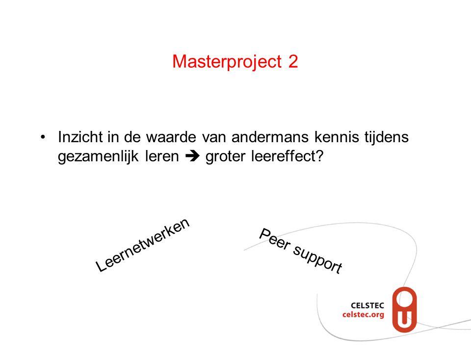 Masterproject 2 Inzicht in de waarde van andermans kennis tijdens gezamenlijk leren  groter leereffect? Leernetwerken Peer support