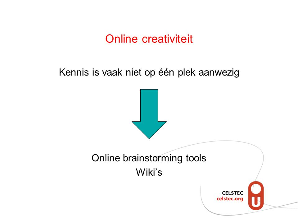 Online creativiteit Kennis is vaak niet op één plek aanwezig Online brainstorming tools Wiki's