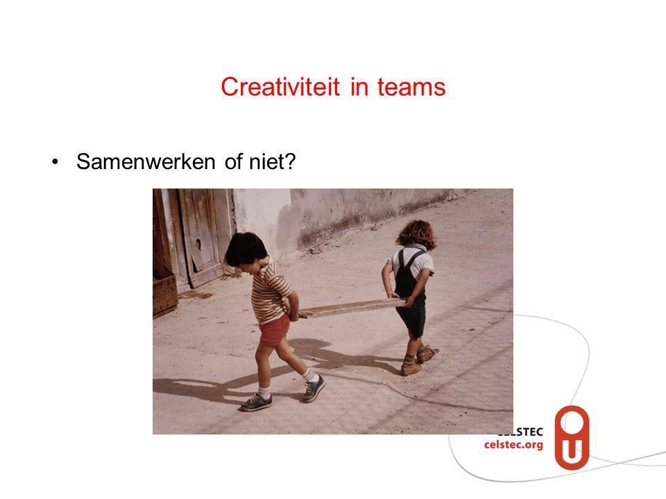 Creativiteit in teams Samenwerken of niet?