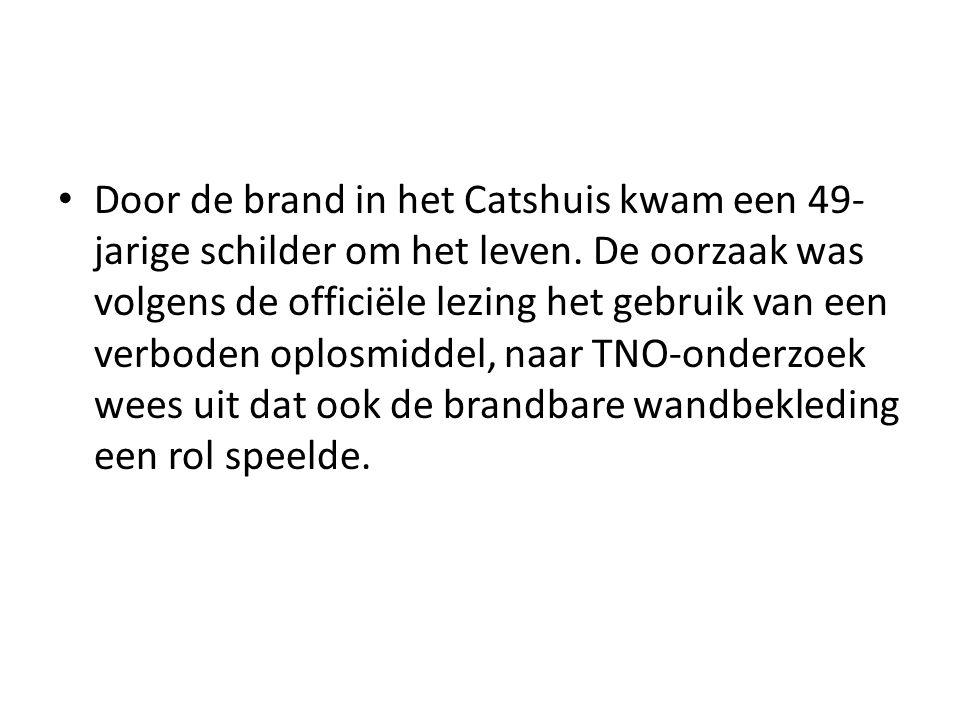 Kebakaran pada Catshuis menyebabkan seorang pelukis yang berusia 49 tahun tewas.