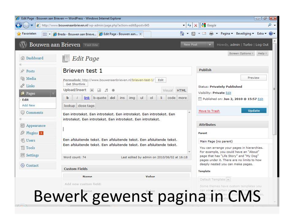 Bewerk gewenst pagina in CMS
