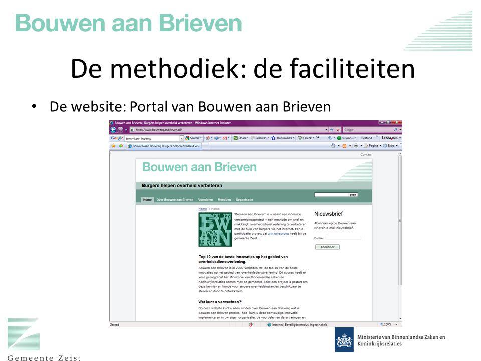 De methodiek: de faciliteiten De website: Portal van Bouwen aan Brieven
