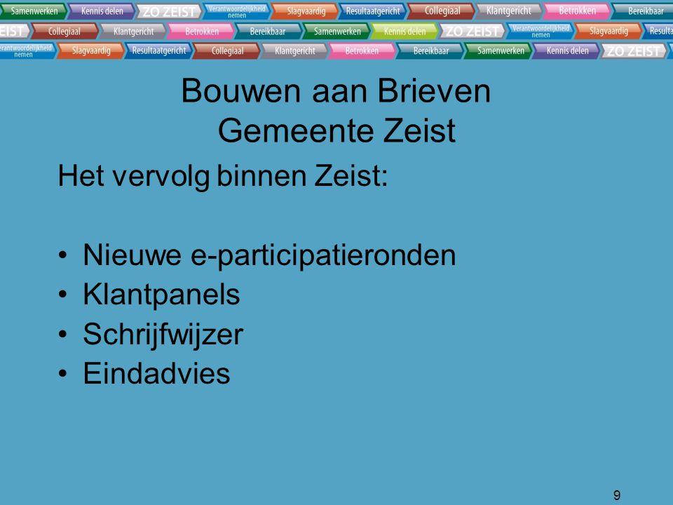 9 Bouwen aan Brieven Gemeente Zeist Het vervolg binnen Zeist: Nieuwe e-participatieronden Klantpanels Schrijfwijzer Eindadvies