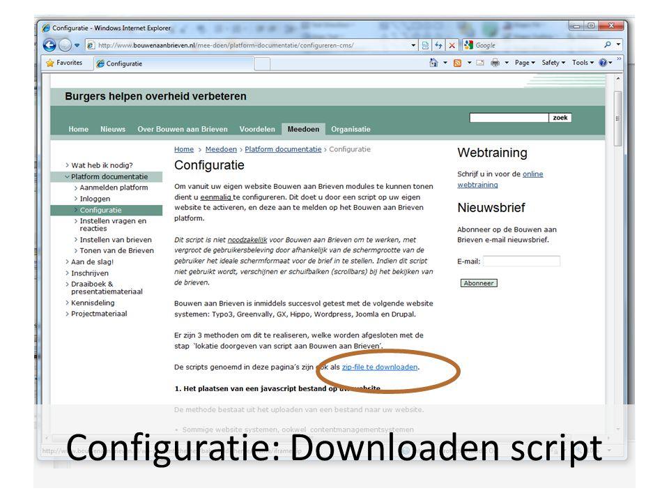 Configuratie: Downloaden script
