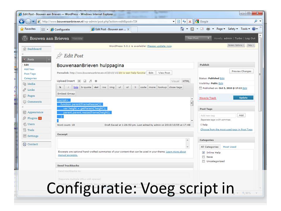 Configuratie: Voeg script in