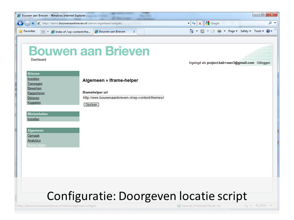 Configuratie: Doorgeven locatie script