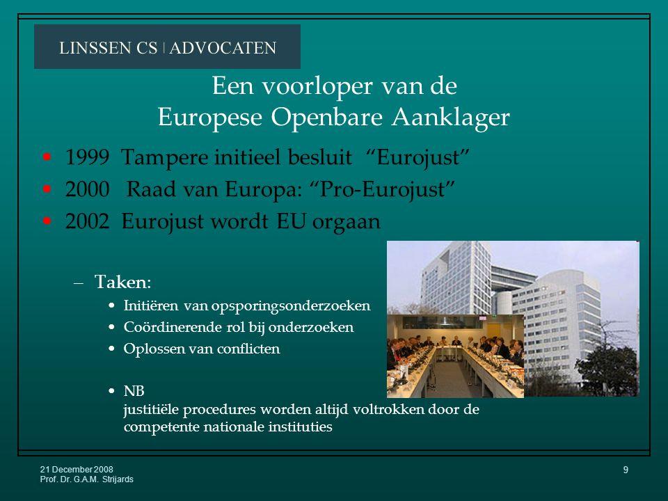 21 December 2008 Prof.Dr. G.A.M. Strijards 19 Een Euro-Balie .