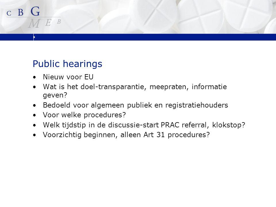 Public hearings Nieuw voor EU Wat is het doel-transparantie, meepraten, informatie geven.