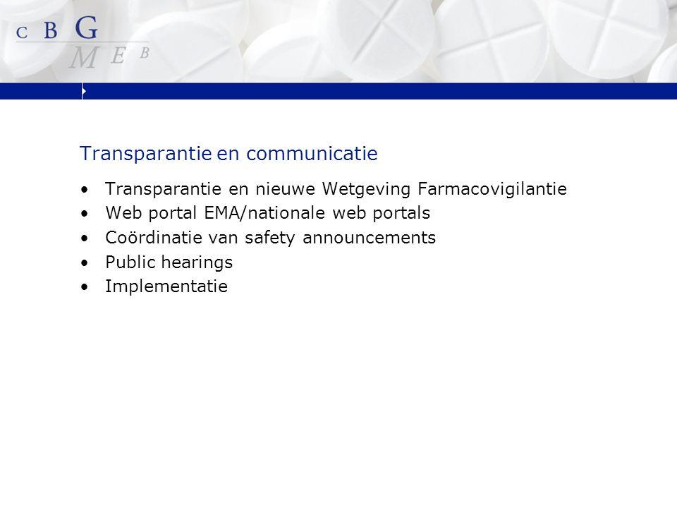 Transparantie en Nieuwe Wetgeving Doelstellingen van nieuwe Wetgeving zijn o.a.