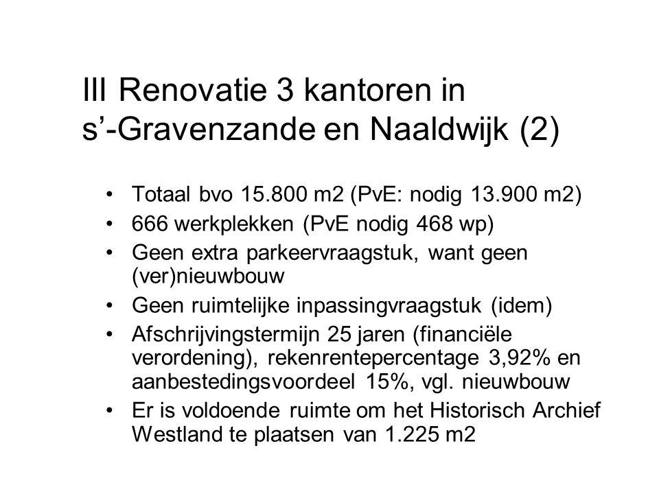Totaal bvo 15.800 m2 (PvE: nodig 13.900 m2) 666 werkplekken (PvE nodig 468 wp) Geen extra parkeervraagstuk, want geen (ver)nieuwbouw Geen ruimtelijke inpassingvraagstuk (idem) Afschrijvingstermijn 25 jaren (financiële verordening), rekenrentepercentage 3,92% en aanbestedingsvoordeel 15%, vgl.