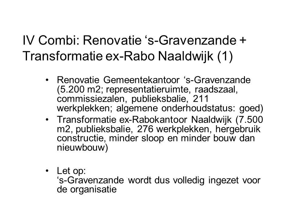 Renovatie Gemeentekantoor 's-Gravenzande (5.200 m2; representatieruimte, raadszaal, commissiezalen, publieksbalie, 211 werkplekken; algemene onderhoudstatus: goed) Transformatie ex-Rabokantoor Naaldwijk (7.500 m2, publieksbalie, 276 werkplekken, hergebruik constructie, minder sloop en minder bouw dan nieuwbouw) Let op: 's-Gravenzande wordt dus volledig ingezet voor de organisatie IV Combi: Renovatie 's-Gravenzande + Transformatie ex-Rabo Naaldwijk (1)