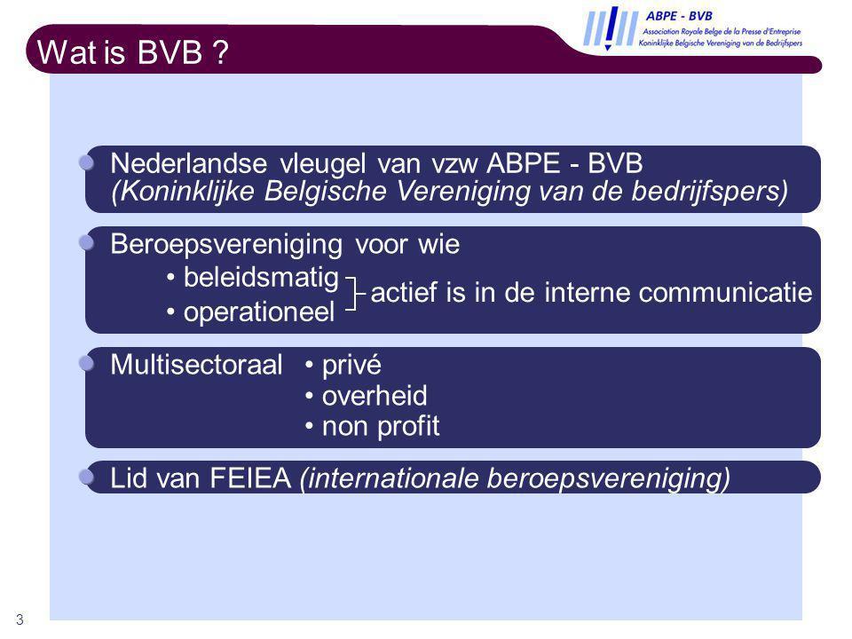 3 Wat is BVB ? Nederlandse vleugel van vzw ABPE - BVB (Koninklijke Belgische Vereniging van de bedrijfspers) Lid van FEIEA (internationale beroepsvere