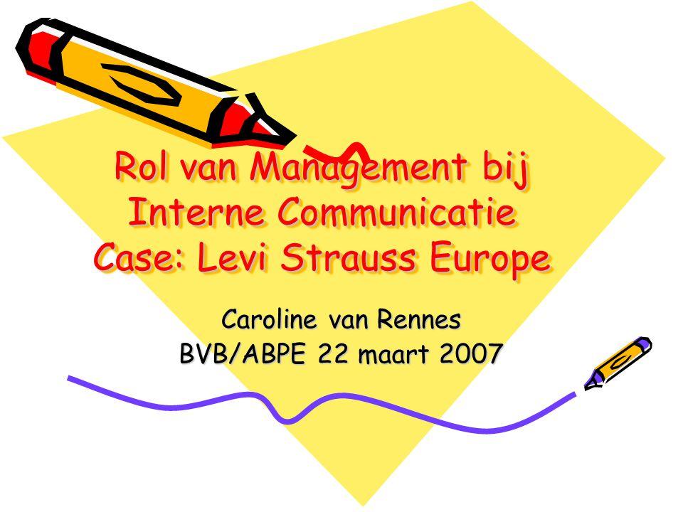 Rol van Management bij Interne Communicatie Case: Levi Strauss Europe Caroline van Rennes BVB/ABPE 22 maart 2007