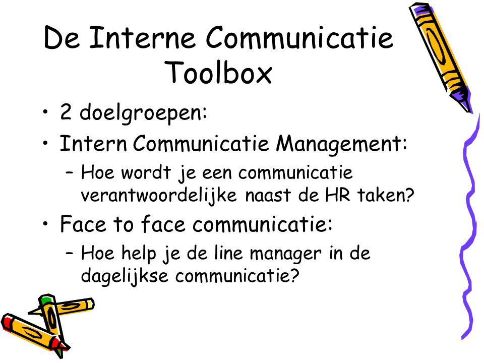 De Interne Communicatie Toolbox 2 doelgroepen: Intern Communicatie Management: –Hoe wordt je een communicatie verantwoordelijke naast de HR taken? Fac