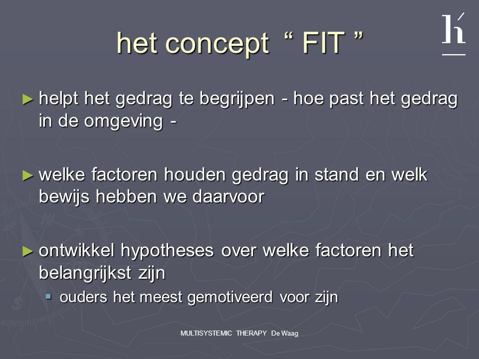 """MULTISYSTEMIC THERAPY De Waag het concept """" FIT """" ► helpt het gedrag te begrijpen - hoe past het gedrag in de omgeving - ► welke factoren houden gedra"""