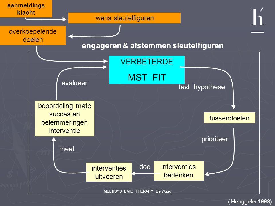 MULTISYSTEMIC THERAPY De Waag aanmeldings klacht wens sleutelfiguren VERBETERDE MST FIT test hypothese tussendoelen prioriteer interventies bedenken i