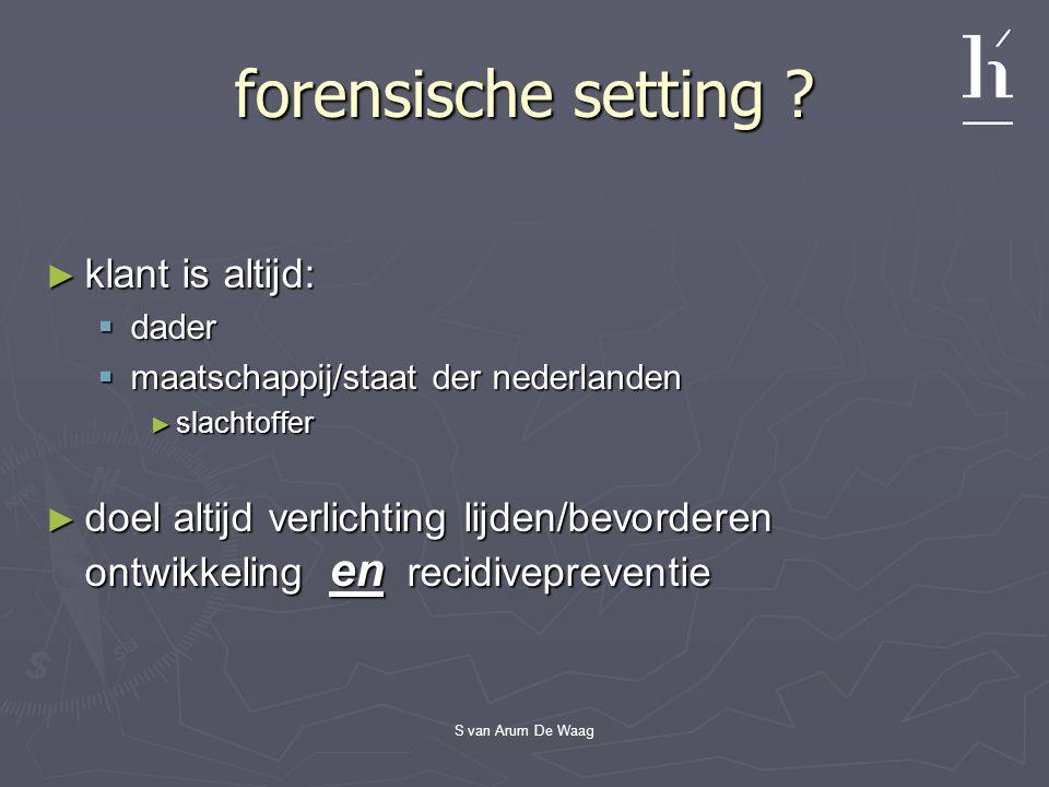 S van Arum De Waag forensische setting ? ► klant is altijd:  dader  maatschappij/staat der nederlanden ► slachtoffer ► doel altijd verlichting lijde