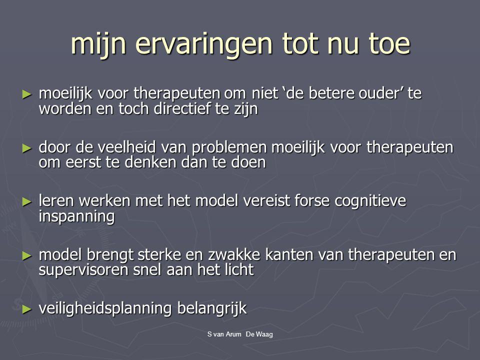 S van Arum De Waag mijn ervaringen tot nu toe ► moeilijk voor therapeuten om niet 'de betere ouder' te worden en toch directief te zijn ► door de veel