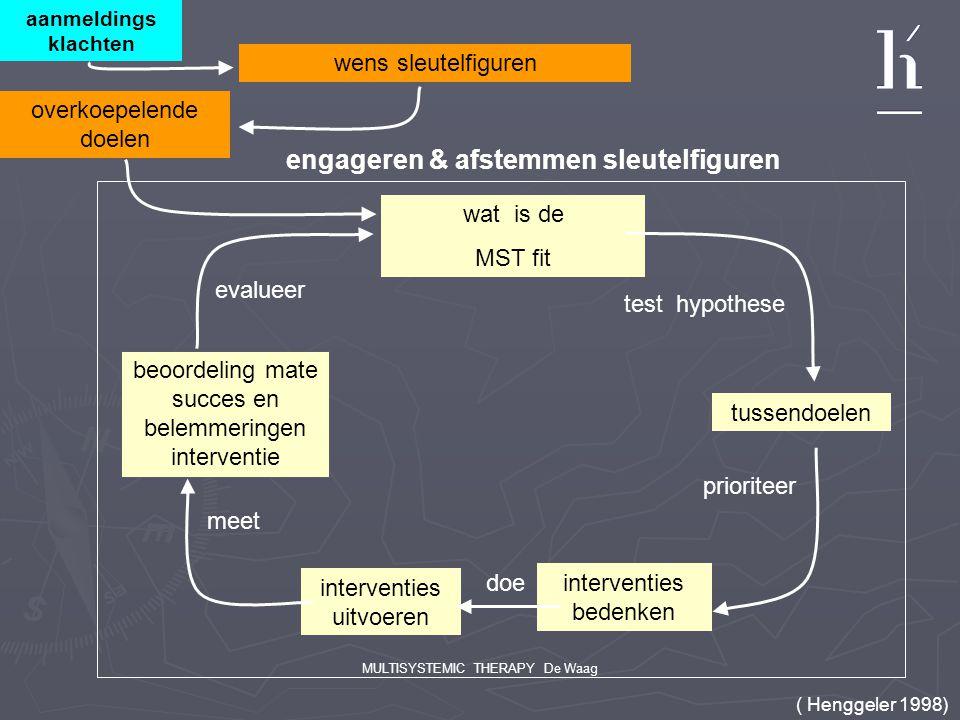 MULTISYSTEMIC THERAPY De Waag aanmeldings klachten wens sleutelfiguren wat is de MST fit test hypothese tussendoelen prioriteer interventies bedenken