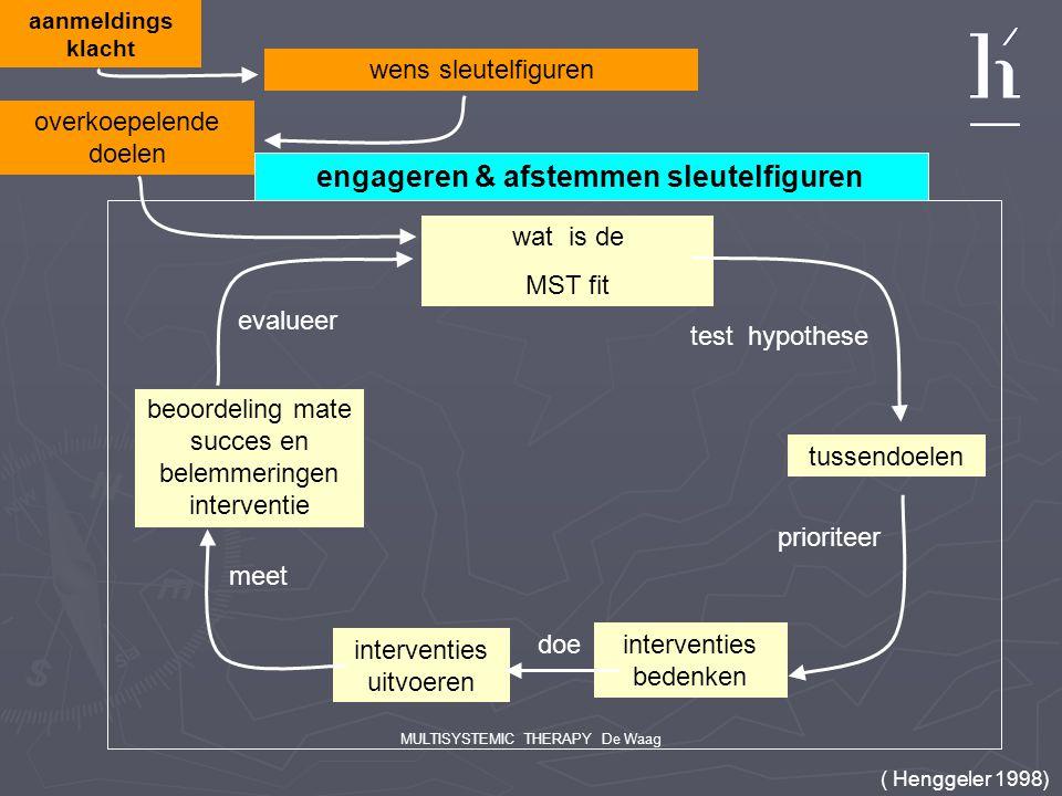 MULTISYSTEMIC THERAPY De Waag aanmeldings klacht wens sleutelfiguren wat is de MST fit test hypothese tussendoelen prioriteer interventies bedenken in