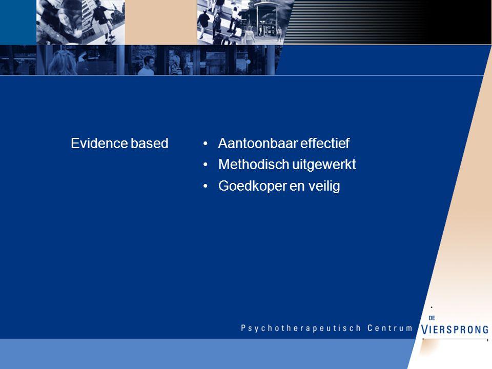 Evidence basedAantoonbaar effectief Methodisch uitgewerkt Goedkoper en veilig