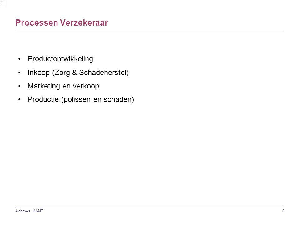 6 Achmea IM&IT Processen Verzekeraar Productontwikkeling Inkoop (Zorg & Schadeherstel) Marketing en verkoop Productie (polissen en schaden)