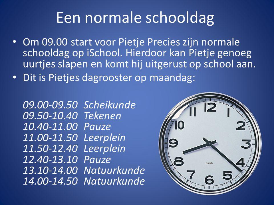 Een normale schooldag Om 09.00 start voor Pietje Precies zijn normale schooldag op iSchool.