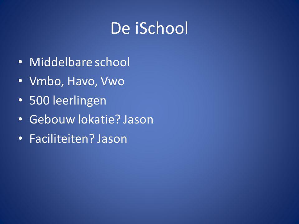 De iSchool Middelbare school Vmbo, Havo, Vwo 500 leerlingen Gebouw lokatie? Jason Faciliteiten? Jason