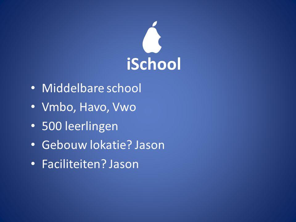 Middelbare school Vmbo, Havo, Vwo 500 leerlingen Gebouw lokatie? Jason Faciliteiten? Jason iSchool