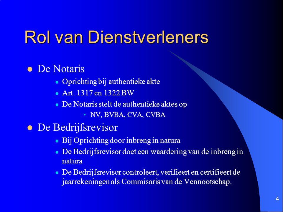 4 Rol van Dienstverleners De Notaris Oprichting bij authentieke akte Art.